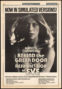 BEHIND THE GREEN DOOR__Orig. 1976 Trade AD_poster__MARILYN CHAMBERS__RES. OF EVE
