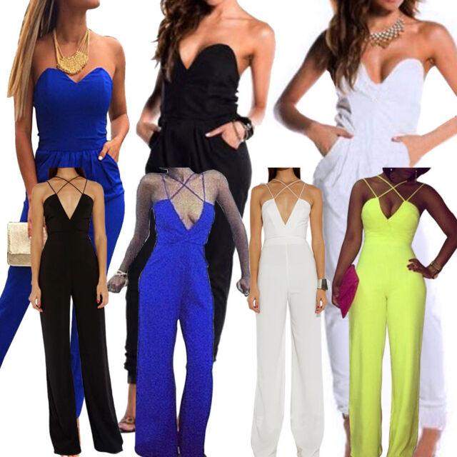 Women Jumpsuit Slim Sexy Clubwear Romper Jumpsuit Dress Party V Neck Jumpsuit