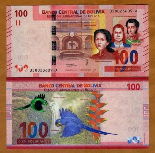 Bolivia 2019 P-New 100 Bolivianos UNC /> Parrot First redesign in 30 years