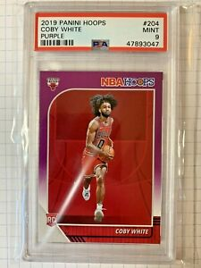 Coby-White-2019-Panini-Hoops-204-Rookie-Purple-SP-PSA-9-Mint-Chicago-Bulls