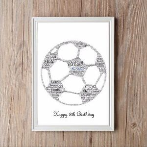 Football Ball Personalised Word Art Print Great Birthday Christmas