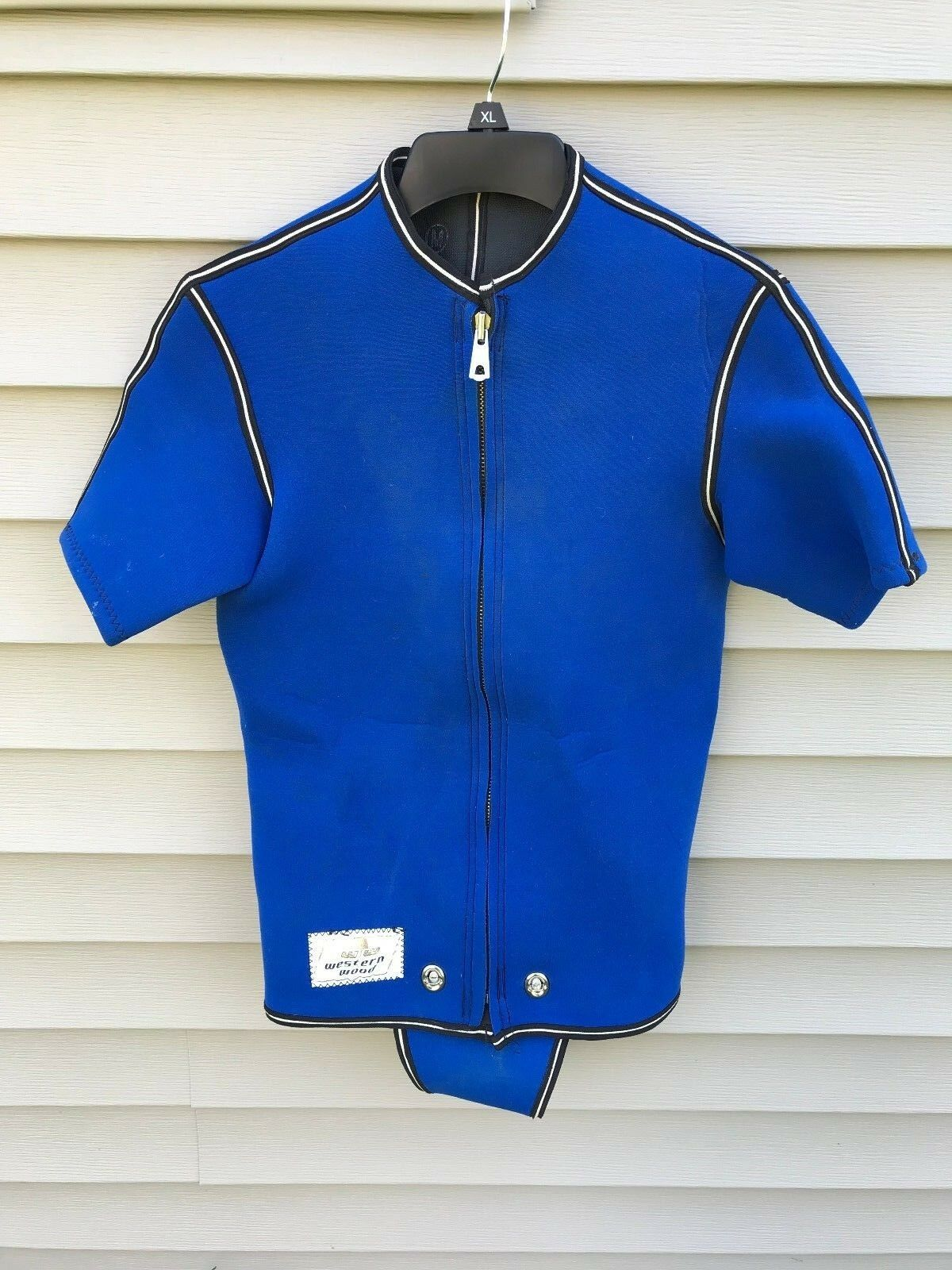 Vintage Western Wood Water Ski Wetsuit bluee Size  Medium  looking for sales agent