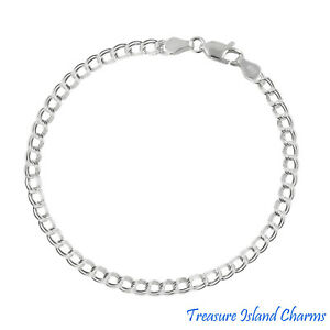 Sterling Silver Charm Double Link Parallelo 4mm Bracelet Chain Solid .925