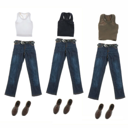 1:6th Scale Sports Vest Jeans Suit w// Shoes for 12in Male Action Figures