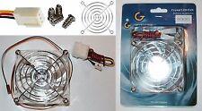 80mm*25mm Ball Bearing Case Cooling Fan 12VDC/12V 4/3pin ATX {2LED GREEN+GRILL