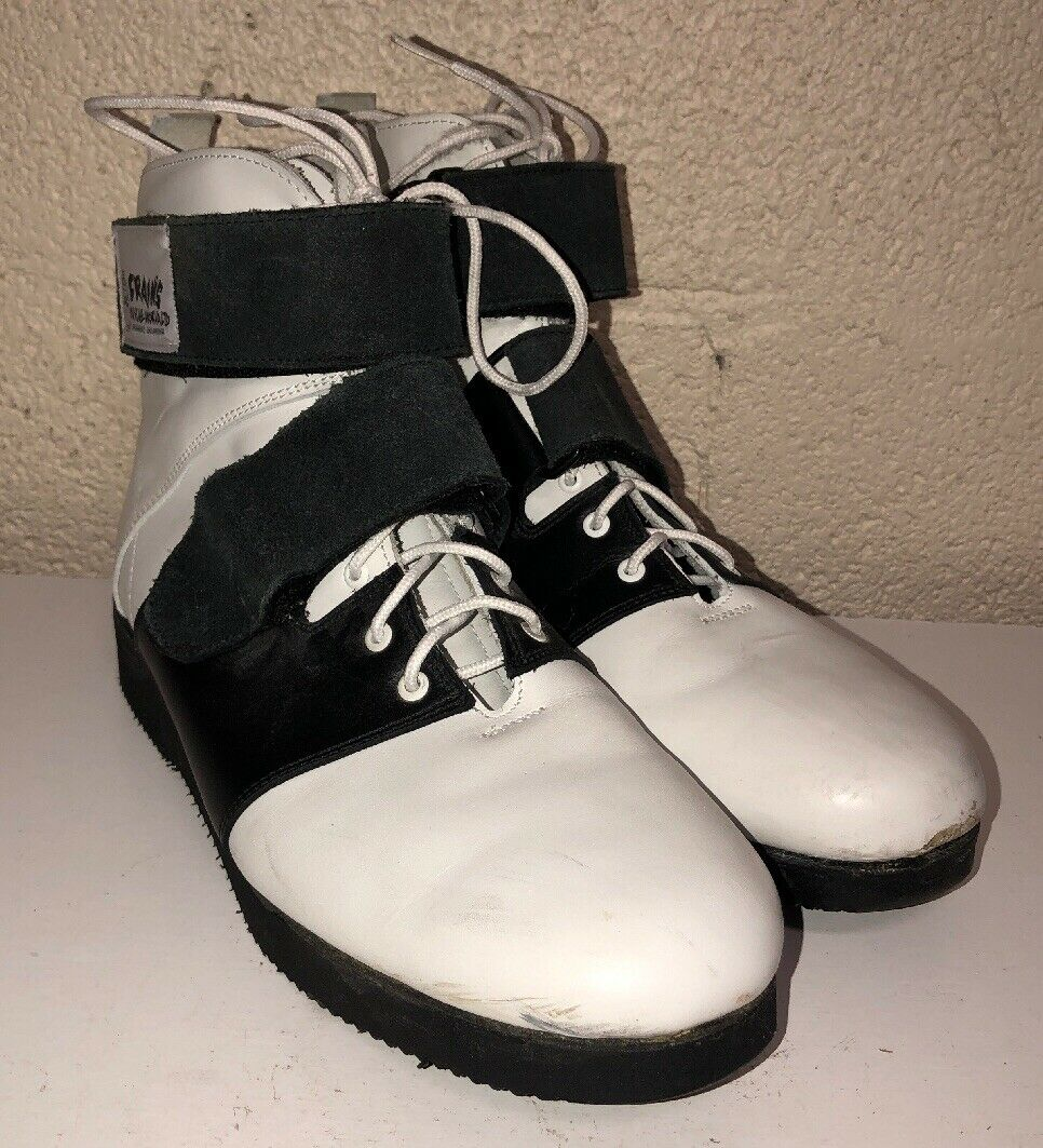 Crains Muscle World Mens Black White Lace Up Strap High Top shoes Size 10M
