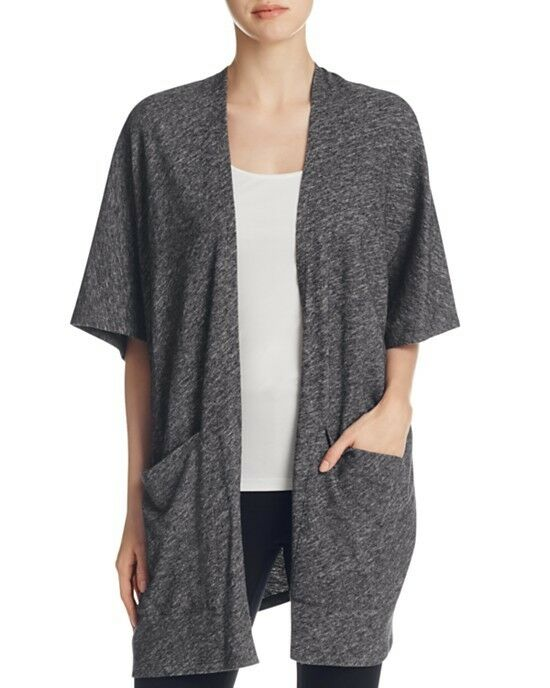 NEW EILEEN FISHER CHARCOAL COTTON & WOOL BIAS TWIST KIMONO CARDIGAN L   298
