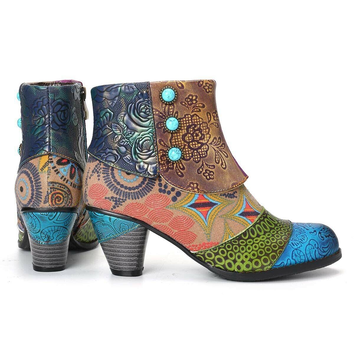 Women's Ankle Boots Cowboy Cowgirl Western Cuban heel retro Bootie Round Toe Zip