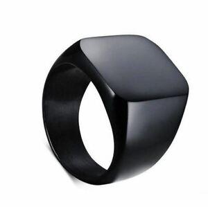 """Bague chevaliere Ring Lisse pour Homme """" Carré Business """"  Noir Modèle 51"""