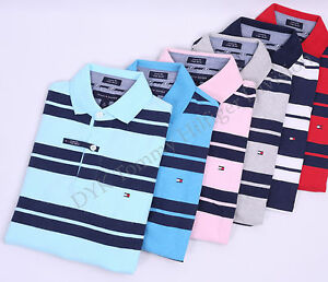 Tommy-Hilfiger-Men-Stripe-Polo-Shirt-Custom-Fit-Short-Sleeve-Free-0-Shipping