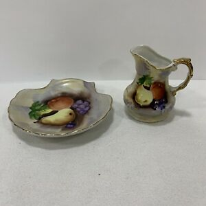 VNT-Porcelain-Creamer-And-Saucer-With-Fruits-And-Gold-Trim-Japan