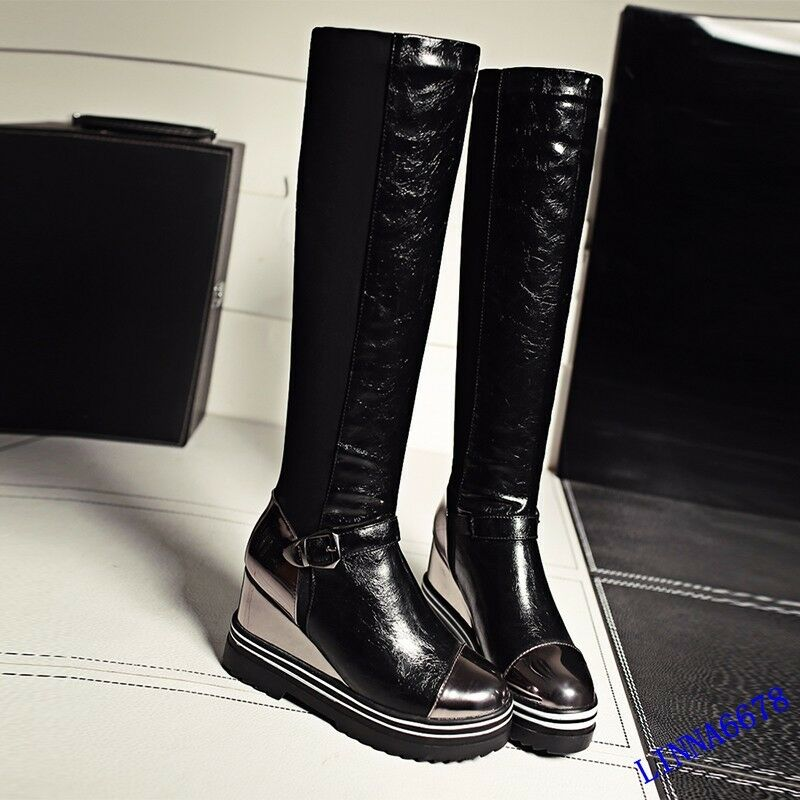 Womens Patent Leather Wedge Heels Knee High Boots Casual Strap Collegiate shoes