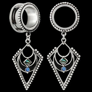 Image Is Loading Pair Pendant W Abalone Inlay Stainless Steel Ear