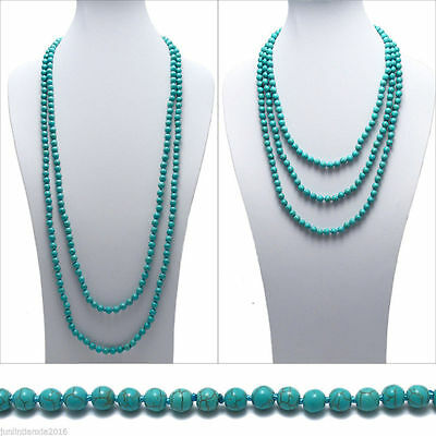 AAA Genuine Natural Turquoise 10mm Bead Stranded Necklace 80/'/'