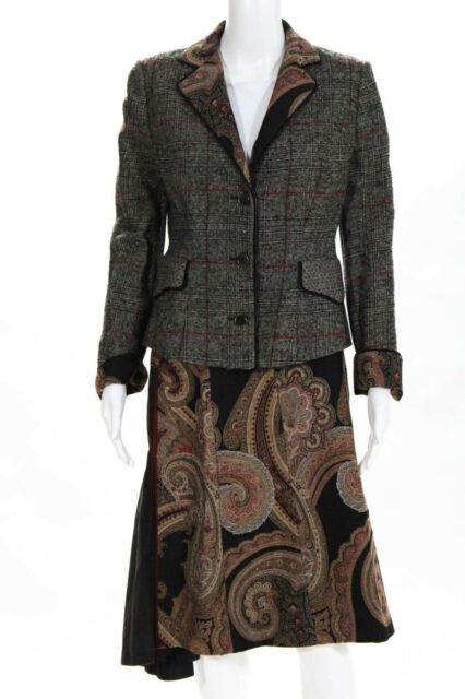 Etro  Womens Wool Plaid Print Skirt Suit Black Red Size 42