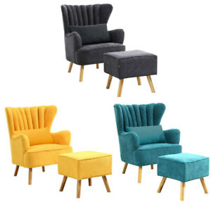 Fabric Occasional Accent Chair Stool Sofa Armchair Footstool Bedroom Seat Modern