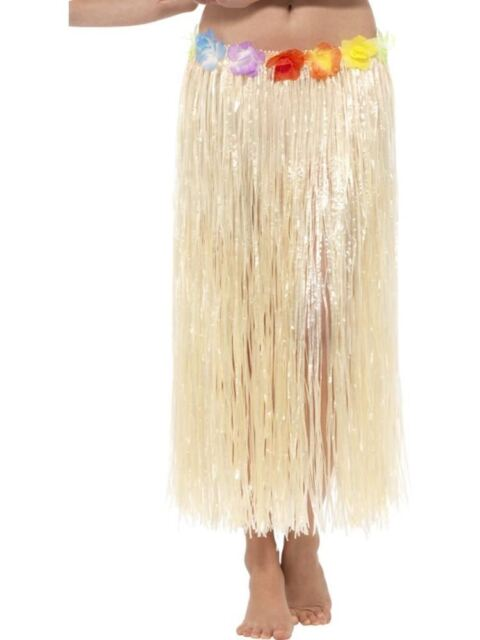 Hawaiian Hula Skirt with Flowers, Light Up and Party, NATURAL