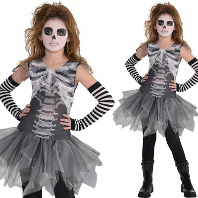 Girls Skeleton Tutu Costume Petticoat Dress Halloween Kids Fancy Dress Outfit