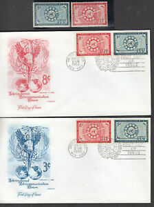 UNITED NATIONS TELECOMMUNICATIONS UNION 2 1956 FDC #41 3¢ & #42 8¢ & NH STAMPS