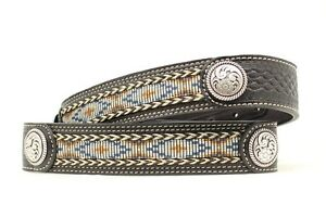 Ariat-LEATHER-BELT-Beaded-Look-Silver-Buckle-WESTERN-Cowboy-A10132-17