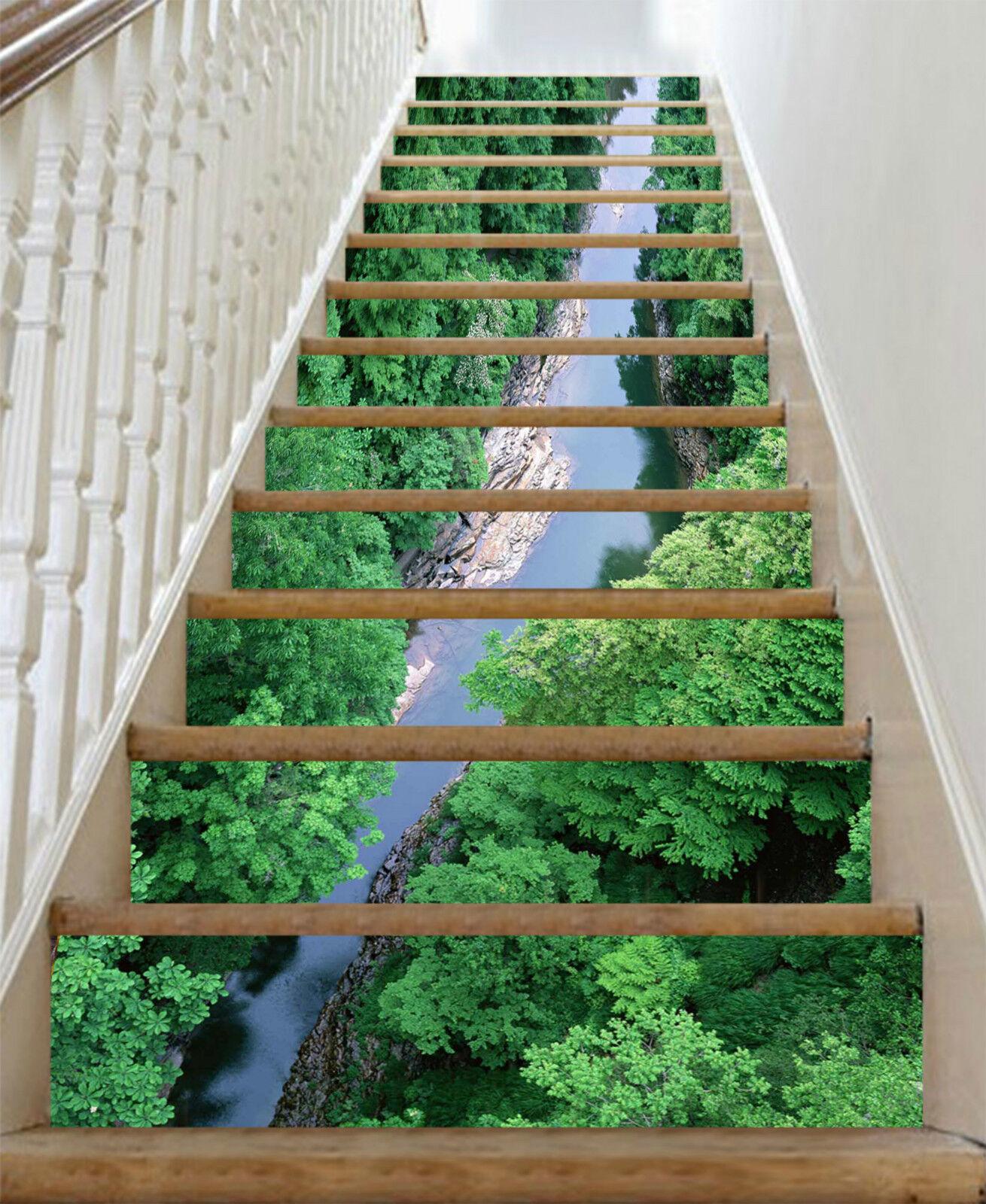 3D Fluss Wald 473 Stair Risers Dekoration Fototapete Vinyl Aufkleber Tapete DE