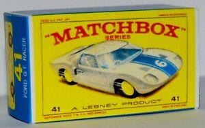 Matchbox-Lesney-No-41-Ford-G-T-Empty-Repro-Box-style-E