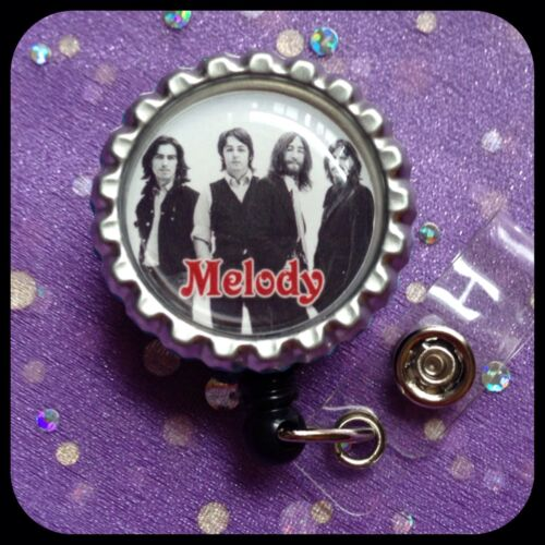 The BEATLES PERSONALIZED Name Bottle Cap ID Badge Holder Lanyard Work Clip RN Dr