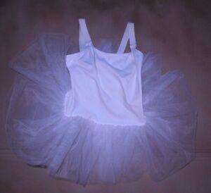 New-Ballet-costume-w-attached-rufflebottom-tutu-White-Medium-C-Nylon-Net-Barbed