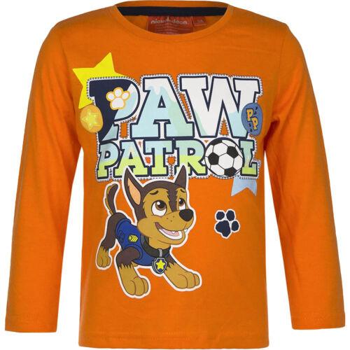 NUOVO Manica Lunga Bambini Pullover PAW PATROL arancione blu grigio 98 104 110 116 #149