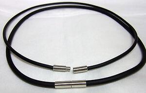 Kautschuk Halsband 3 mm Halskette Bajonett EDELSTAHL 50 cm