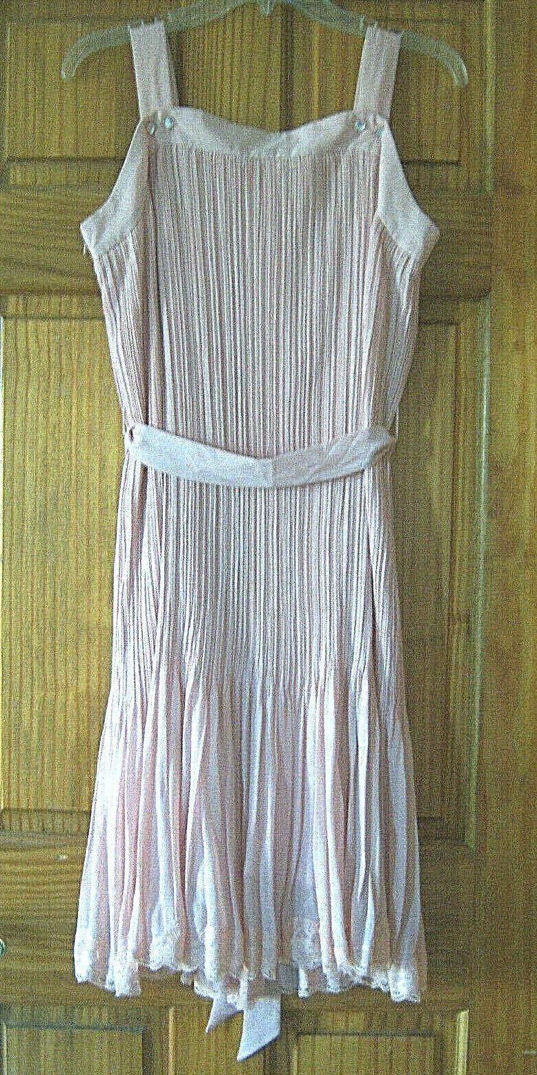 Women's fancy chiffon dress size L dusty rose pink - image 3