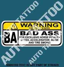 BAD ASS VEHICLE Decal Sticker for Mancave Car Bar Retro Vintage Rat Rod Stickers