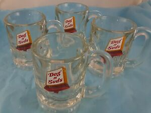 Set-of-4-Mugs-Dog-N-Suds-Drive-In-Root-Beer-Crystal-Clear-Glass-Advertising-Soda