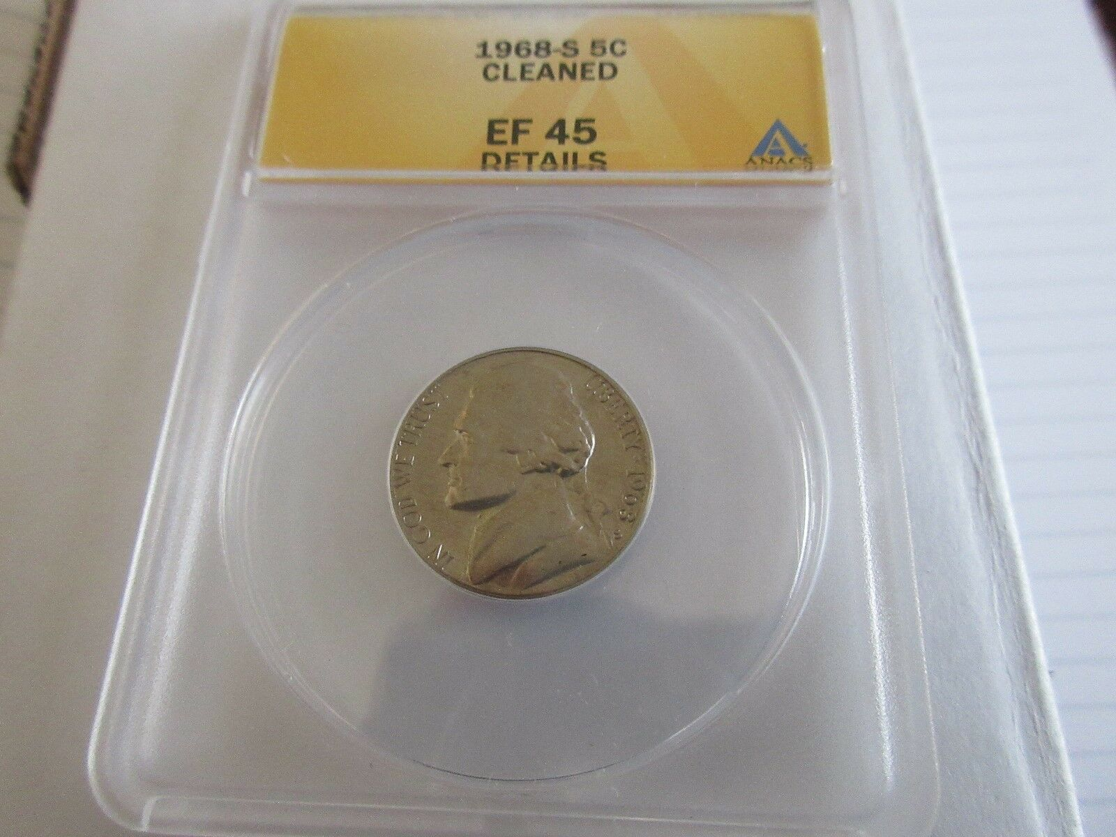 1968-S ,Cleaned , Jefferson Nickel , EF 45 , Anacs