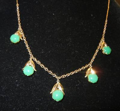 Antique Chinese A Grade Jade 14K Gold Necklace Amazing Apple Green Jade