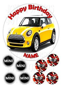 Austin Mini Car Cake Topper Round 7 5 8 Edible Iced Icing Frosting