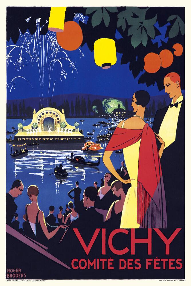 Vintage 1920s Art Deco French Travel Poster Trouville Boardwalk Sea Flapper
