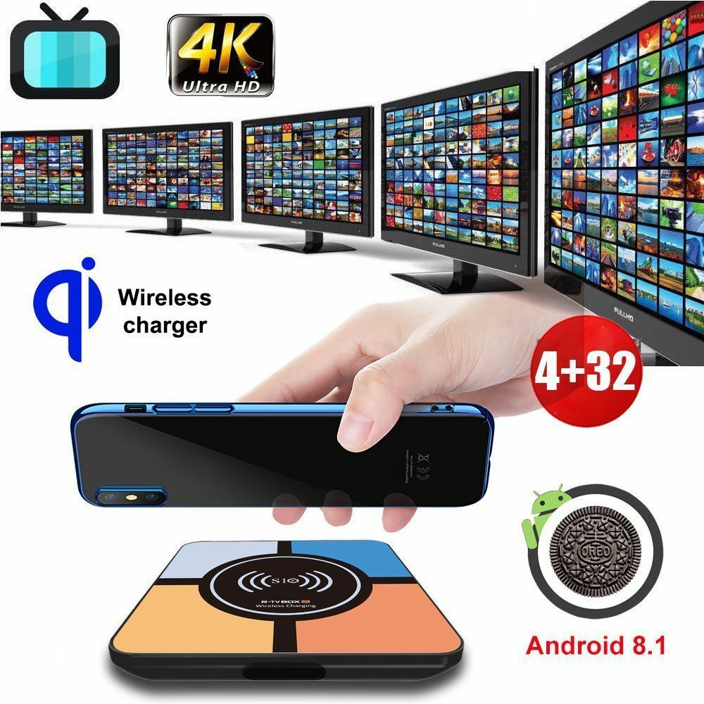 S10PLUS 4G+32G Android 8.1 Oreo Wireless Charger Quad Core Smart TV Box HDR 4K Featured