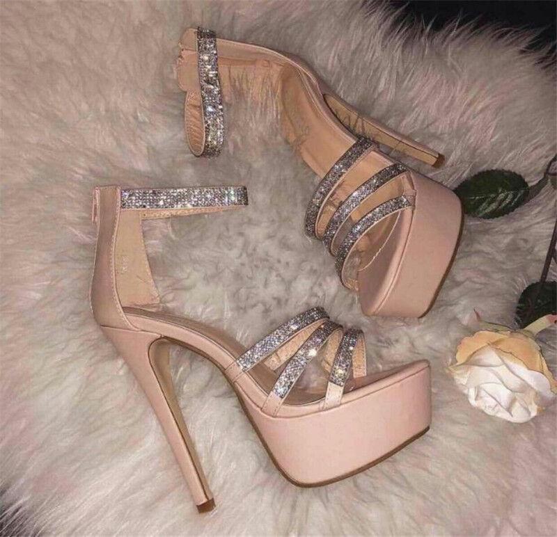 femmes Very High Heels Rhinestone Platform Open Toe Ankle Strap Clubwear chaussures