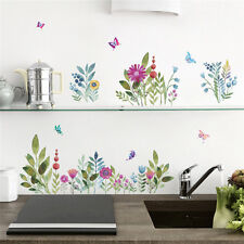 Butterfly flower Wall Sticker Skirting Kitchen Decal bedroom Pastoral home decor