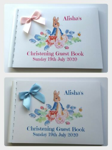 PERSONALISED PETER RABBIT  CHRISTENING  //BAPTISM GUEST BOOK SCRAPBOOK ALBUM