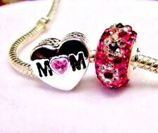 MOM MOTHER'S DAY HEART Charm European Crystal Love Pink Murano Glass + POUCH