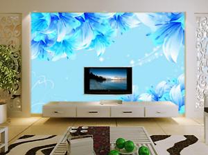 3D Bright bluee Lily  8 Wall Paper Murals Wall Print Wall Wallpaper Mural AU Kyra