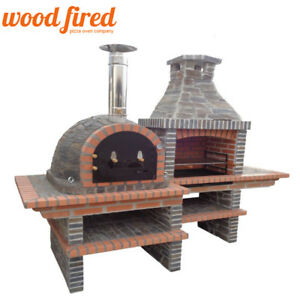 Image Is Loading Brick Masonry Mediterranean Bbq With Wood Fired Pizza