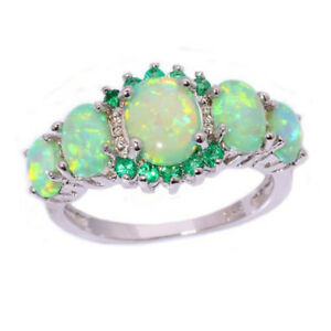 Fashion-Green-Fire-Opal-amp-Emerald-Women-Jewelry-Gems-Silver-Ring-Size-6-7-8-9