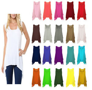 New-ladies-plus-big-size-hanky-hem-baggy-summer-casual-long-tunic-vest-top-Hanky