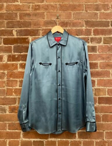 Supreme Men's Western Shirt. SZ Medium, Satin Teal