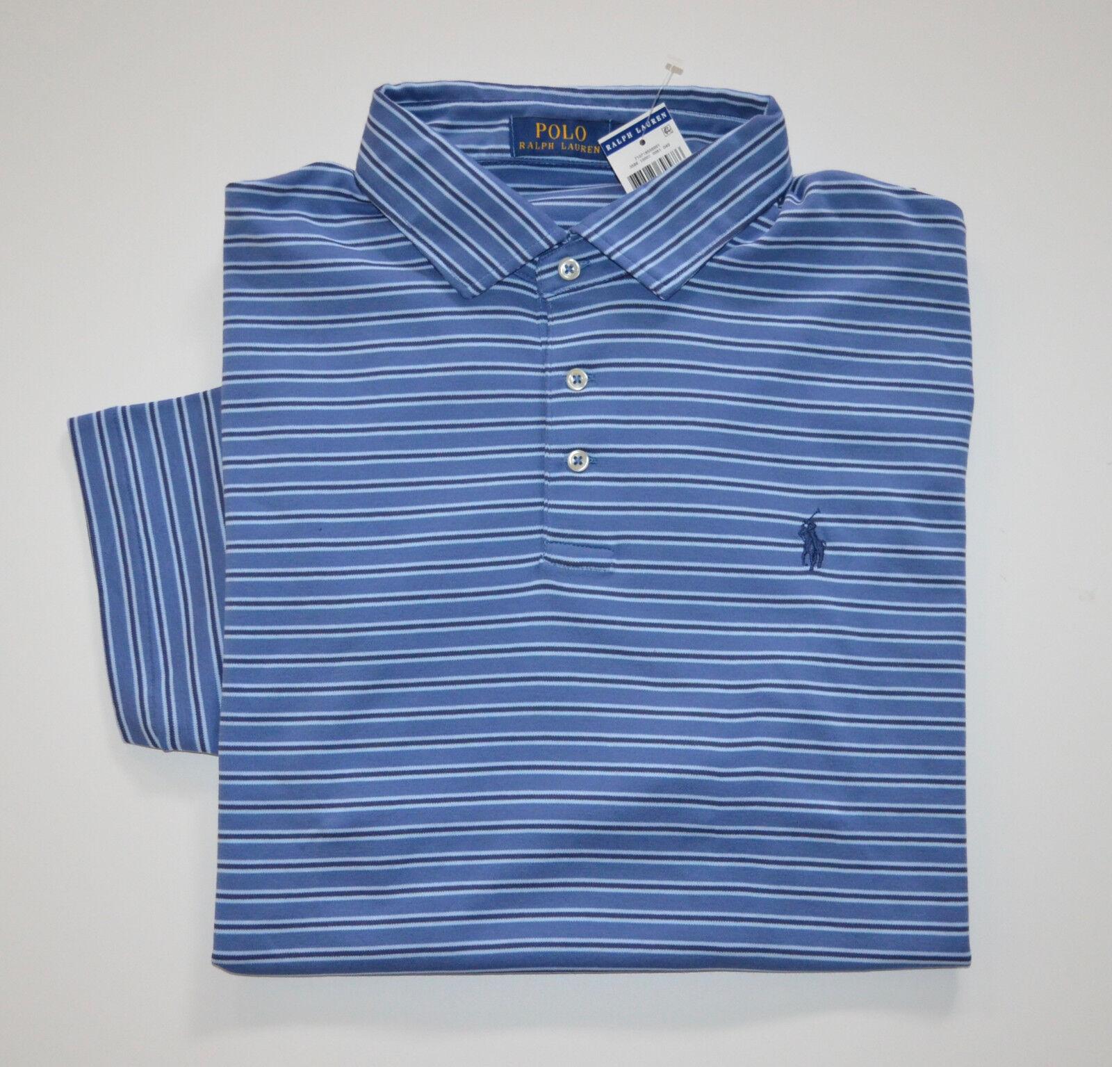 NWT Men's Ralph Lauren Short-Sleeve Jersey Polo Shirt Regular Fit bluee XL