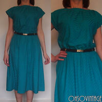 Vintage 80s Rockabilly Dress Swing Flared Party Summer Retro Indie Pin-up 10/12