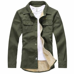 Mens Casual Military Style Sherpa Lined Thicken Winter Denim Shirt ...